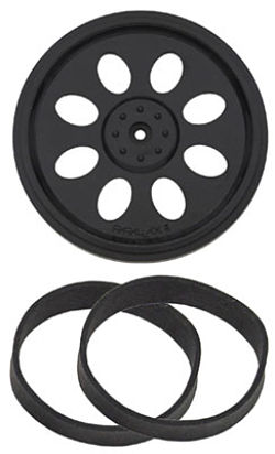 WHEEL&TIRE SET,1 WHEEL WITH 2 RUBBER BAND TIRES