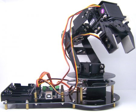 The 6-DOF robot arm controlled via Arduino and Bluetooth