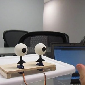 A pair of animatronic robotic eyes