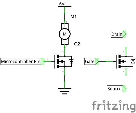"Schema to ""switch on"" the motor controller"