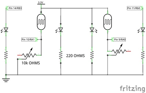 The circuit diagram for our complete line sensor circuit