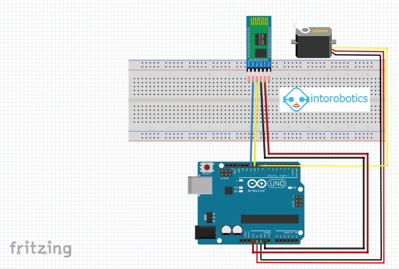 How to control a servo motor with bluetooth module