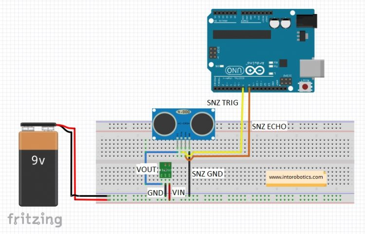 The connection between switching regulator and the sensor is simple. These two pieces should be connected as in image.