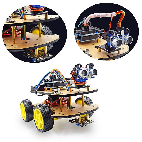 VKmaker UNO Project Smart Robot Car Kit with Four-wheel Drives