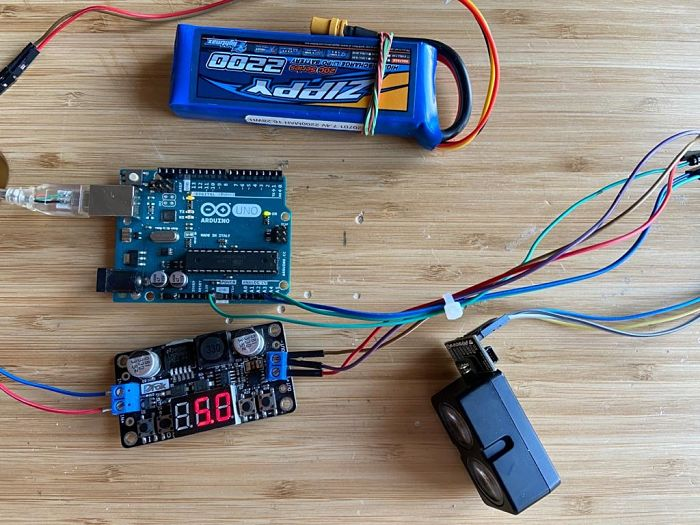 Garmin_LIDAR-Lite_v4 + Arduino + Battery +  Step Down DC-DC Converter